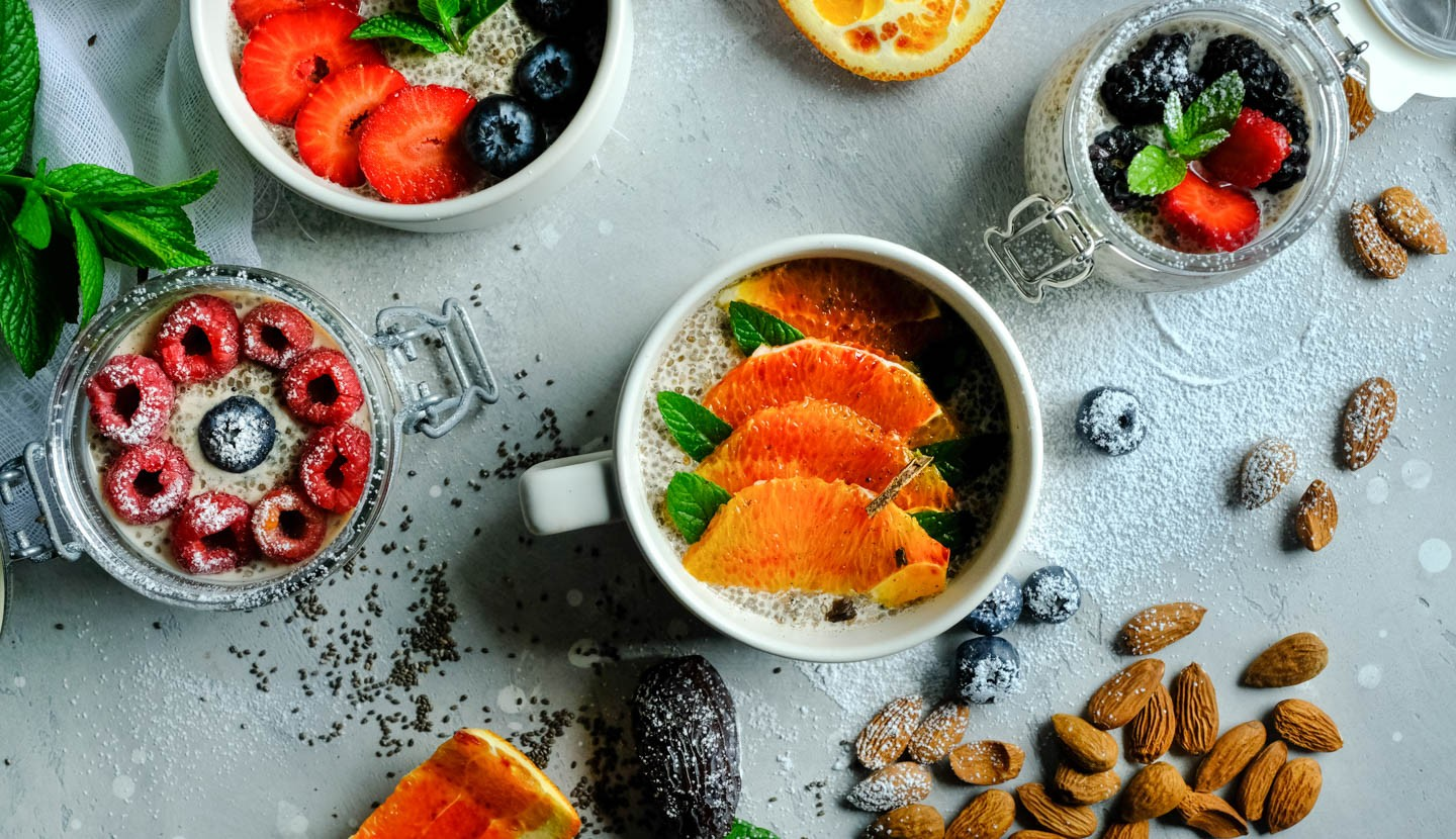 Almond Milk Pudding  With Chia Seeds & Dates