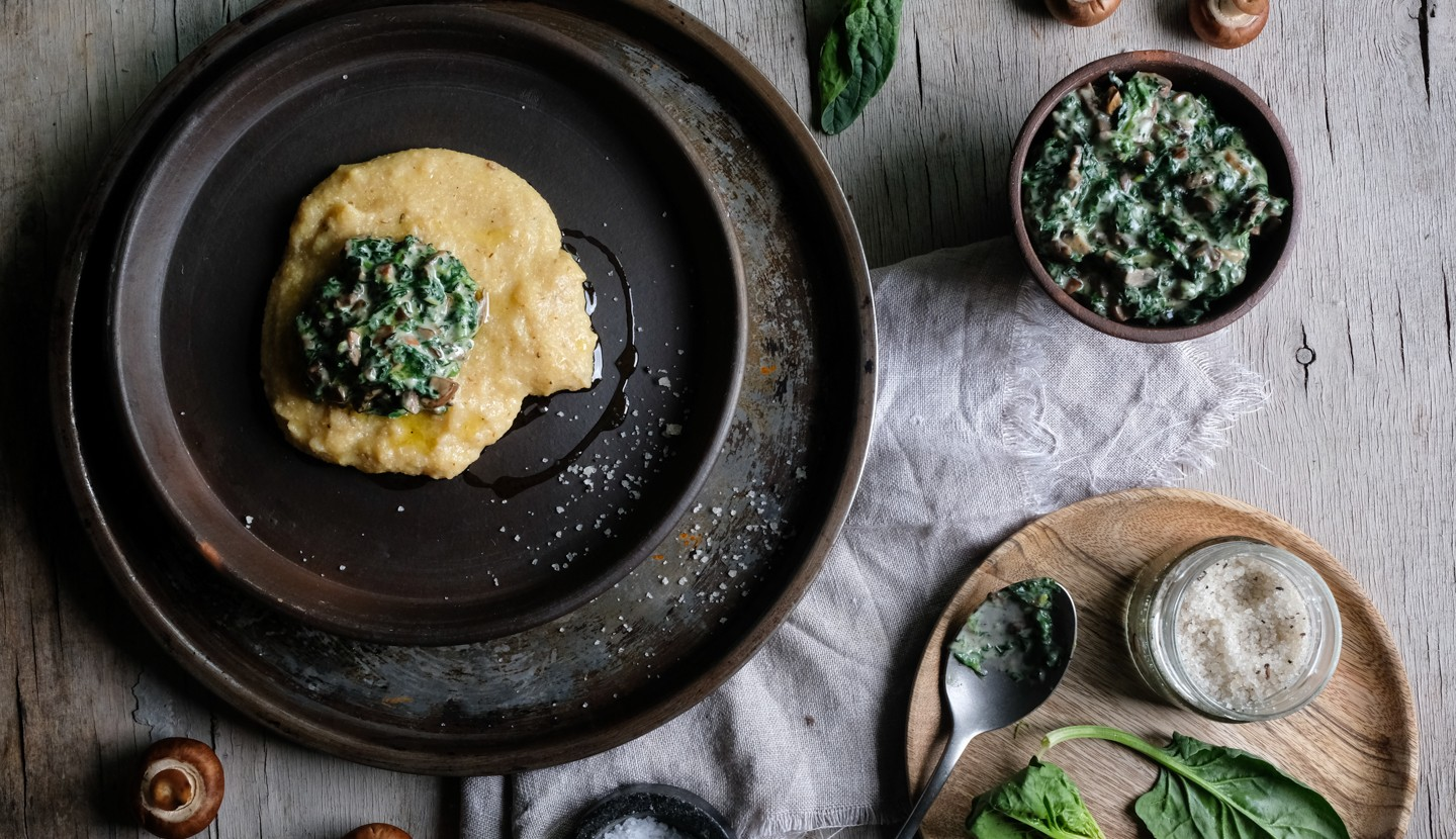 Polenta with spinach and mushroom purée